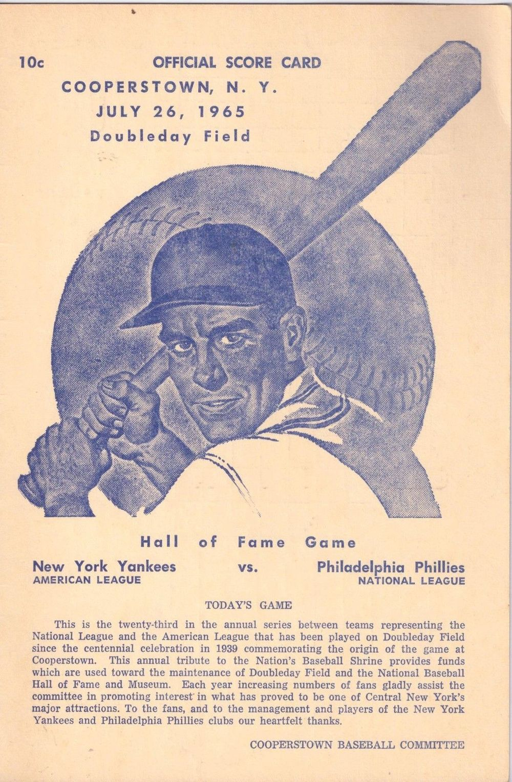 1965 Hall of Fame Game Program