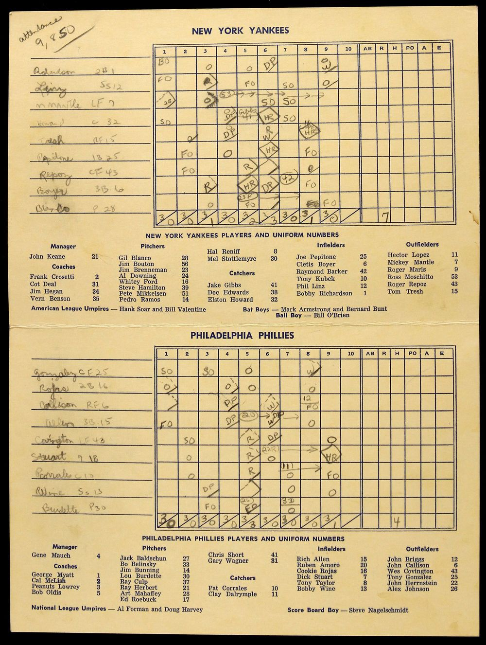 1965 Hall of Fame Game Scorecard