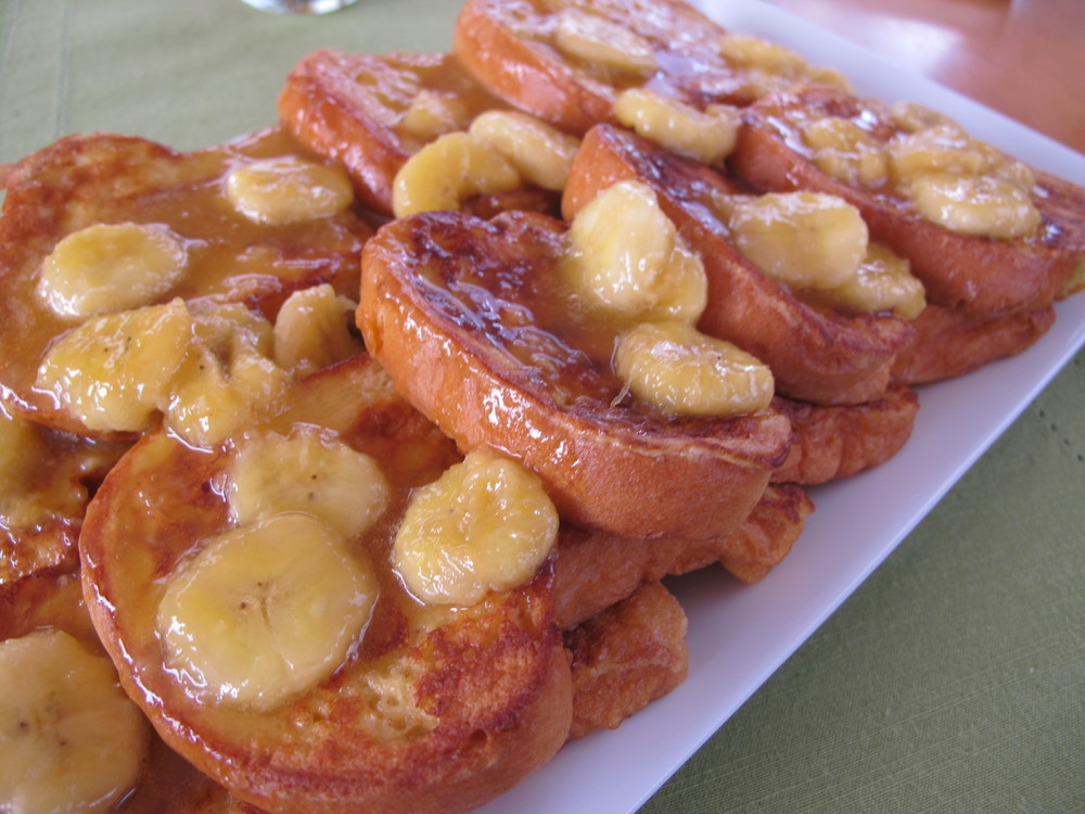 French Toast with Caribbean Rum Sauce Served with Maple Bacon