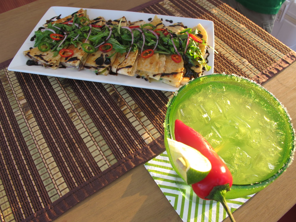 Pear French Brie Red Onion Jalapeño Quesadillas with Spicy Fresh Lime Margarita