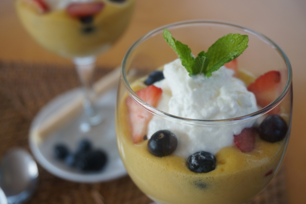 Zabaglione with Fresh Berries and Whipped Cream