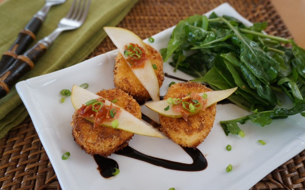 Fried Goat Cheese with Pear Crispy Parma Prosciutto and Balsamic Reduction