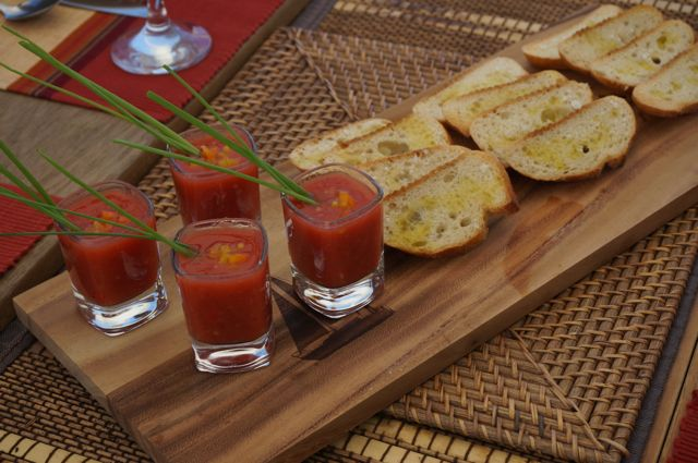 Spicy Tomato Gazpacho with Grilled Garlic Bread