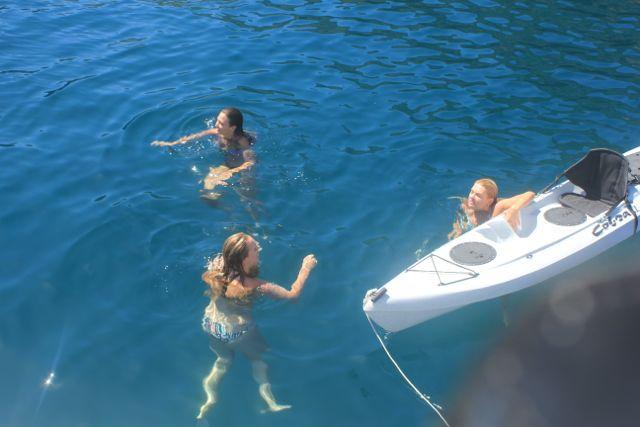 Swimming in the Turquoise Water at Santa Cruz Island