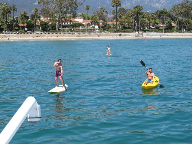 Paddle Boarding and Kayaking off Green Flash Yacht Biltmore Santa Barbara