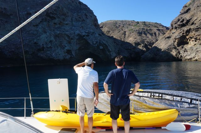 Pointing out the Painted Caves Santa Cruz Island Channel Islands