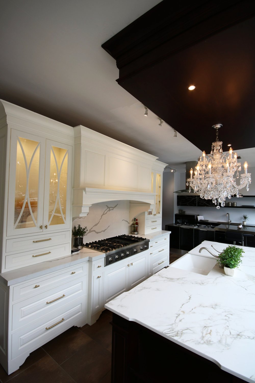Transitional White Kitchen, Custom Designed By Teoria Interiors, Showroom  In Manhasset, Long Island