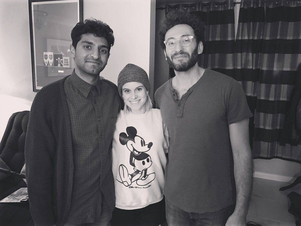 BTS of Binged (Left to Right): Karan Soni, Carlie Craig, Jason Mittleman