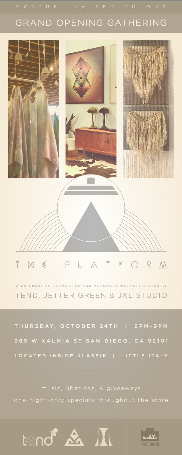 Gollypod  creator  Jason Xavier Lane (JXL)  and  Tend  have teamed up with sacred geometry artist  Jetter Green  to open an experimental launch pad housed inside  Klassik  of Little Italy,  dubbed The Platform! The trio has designed a 250 sq ft corner of the Mid-Century furnishings mecca to showcase individual works, prototypes, and collaborative musings.  Jason will be previewing his exquisite hand-crafted furniture formerly available only to private clients, alongside of limited edition large scale sacred geometry pieces by Jetter Green and Tend's signature rare and unusual specialty plants for the home.  We will have a few of our enamelled wall hangings as well as some jewelry on display at the openning and are honored to be a part of the magic happenning here!