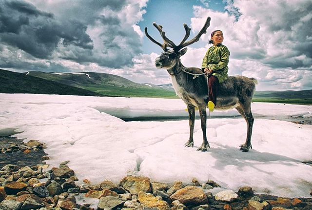 Beautiful Dukha girl captured during our shoot last summer.  The Dukhas, the reindeer people are the last of their kind in Mongolia. There are only around 40 families left with about 1000 reindeer.