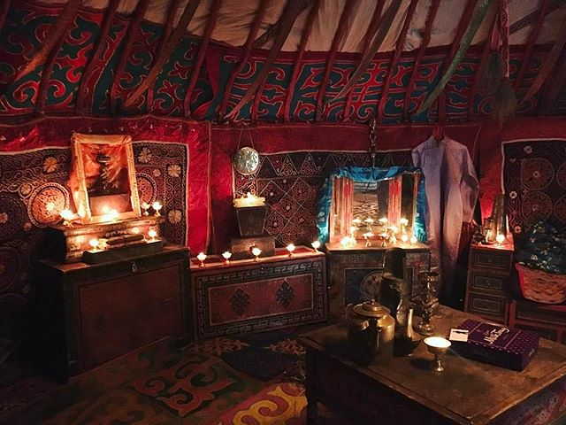 Inside a Kazakh ger decorated for Cadbury ad shooting. Can you spot the Milk Tray chocolates?