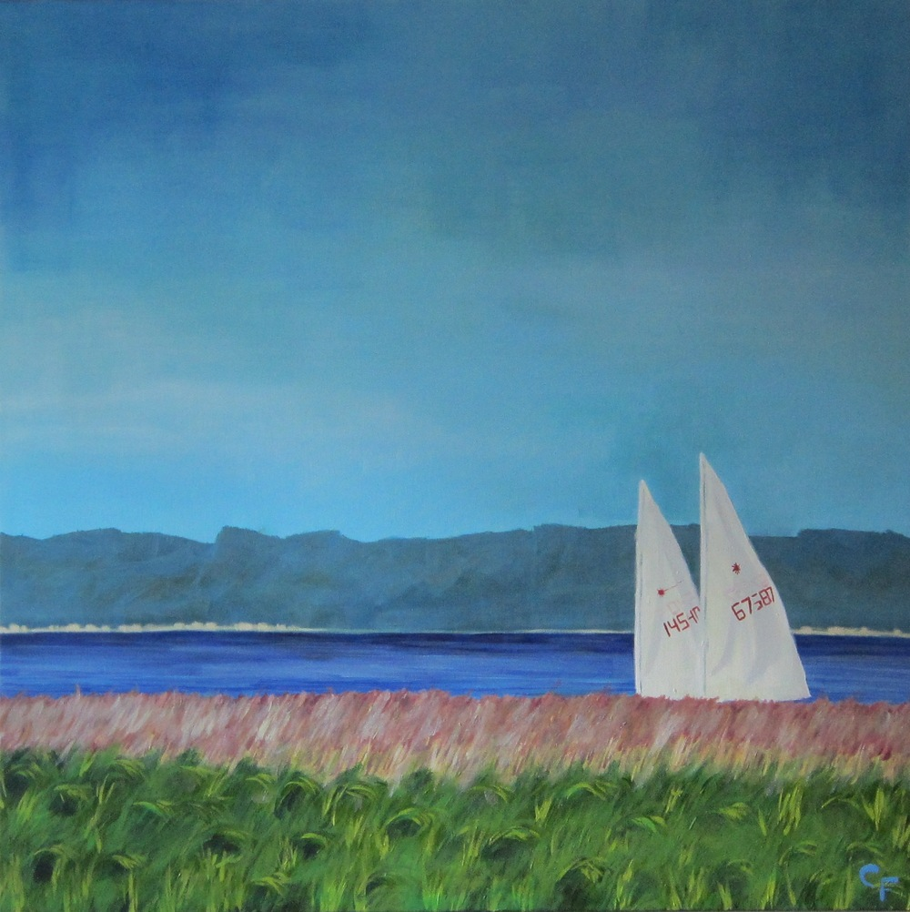 "Sailboats on Willapa - 36""x36"" - SOLD"