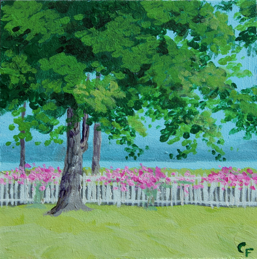 "Roses in Oysterville - 5""x5"" - SOLD"