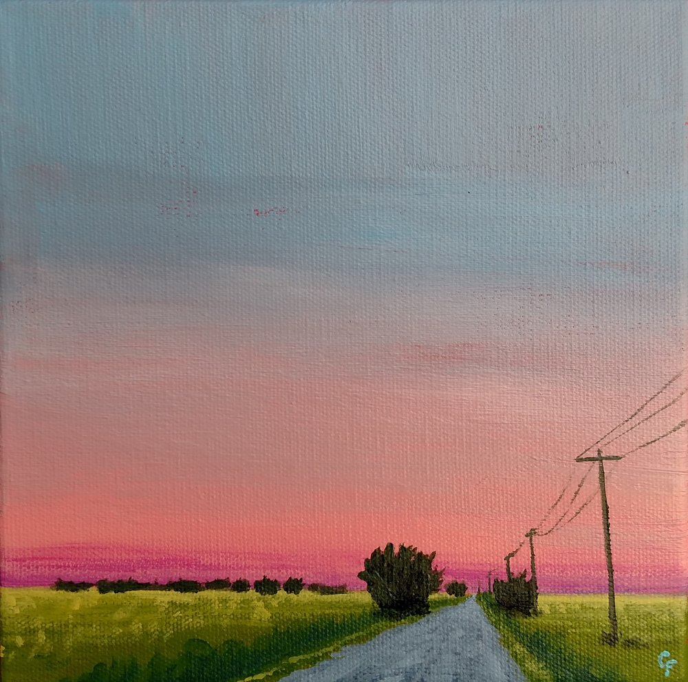 "Oklahoma Back Road Sunset - 8""x8"" - Available here"