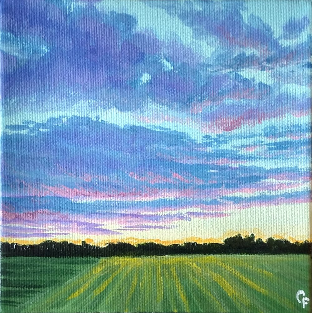 "Enid Winter Sunset - 5""x5"" - Available  here"
