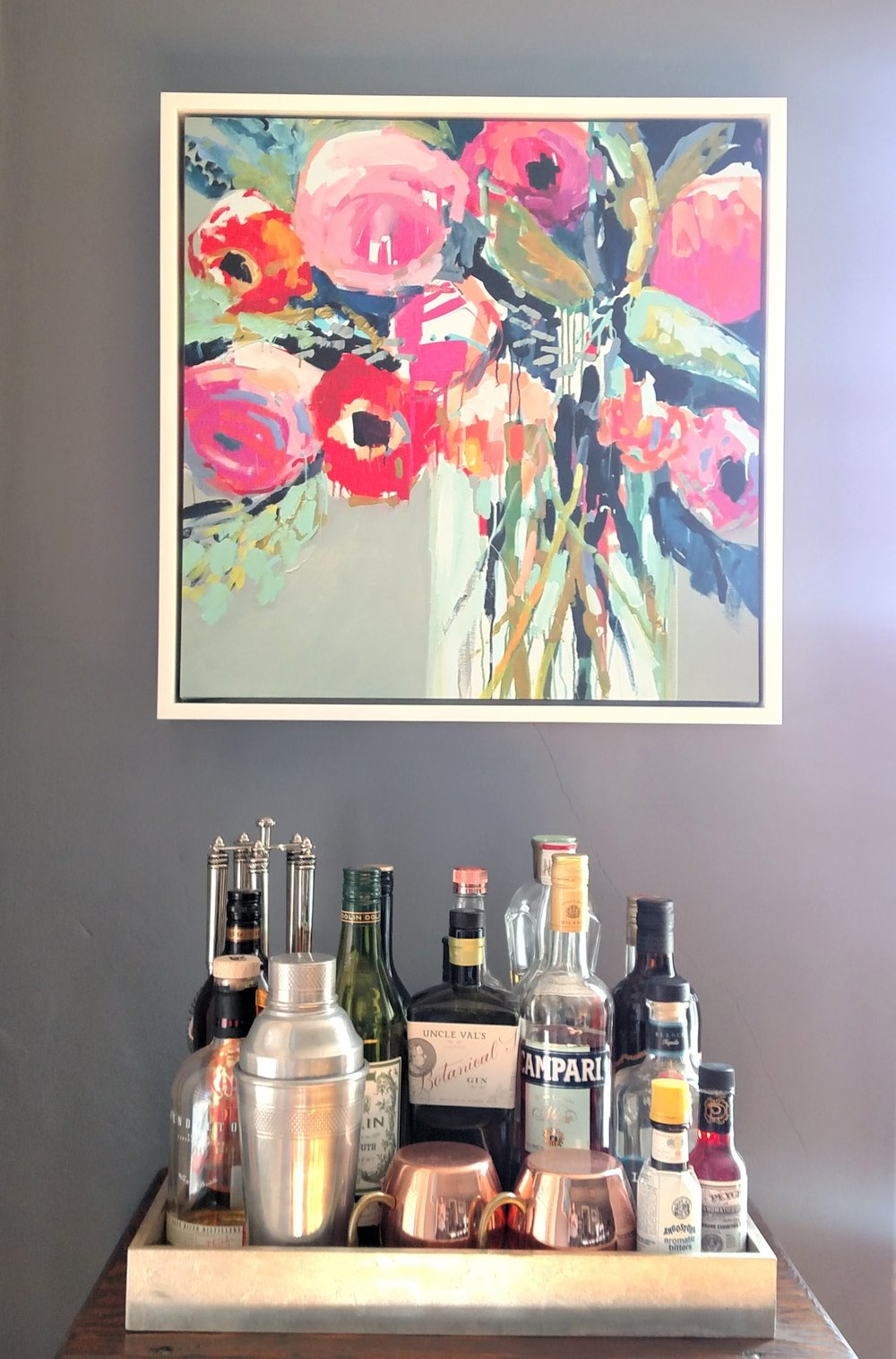 """I love this colorful  Erin Gregory  giclee print from One Kings Lane, but hope to """"upgrade"""" soon and put a piece of original art here."""