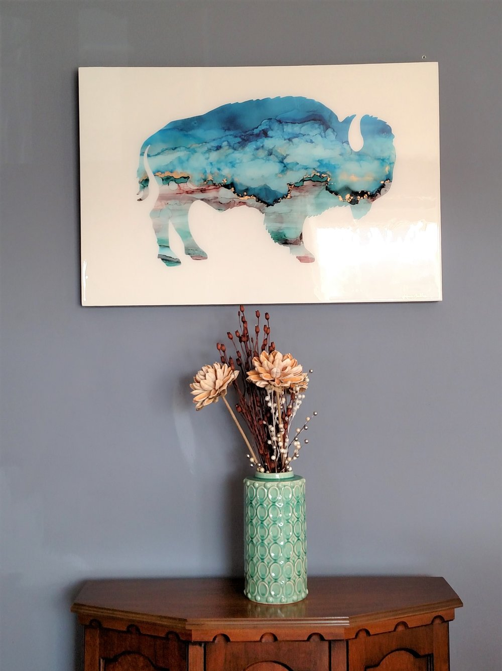 We commissioned this buffalo by  Kasie Sallee  to commemorate our time in Oklahoma.