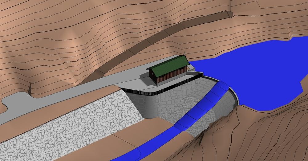 3D modell av inntaket til Råssafoss Kraftverk