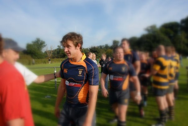 Simon makes comes off the field with the rest of the Oaks after one of his first league appearances against Eastbourne, a game in which he scored a try