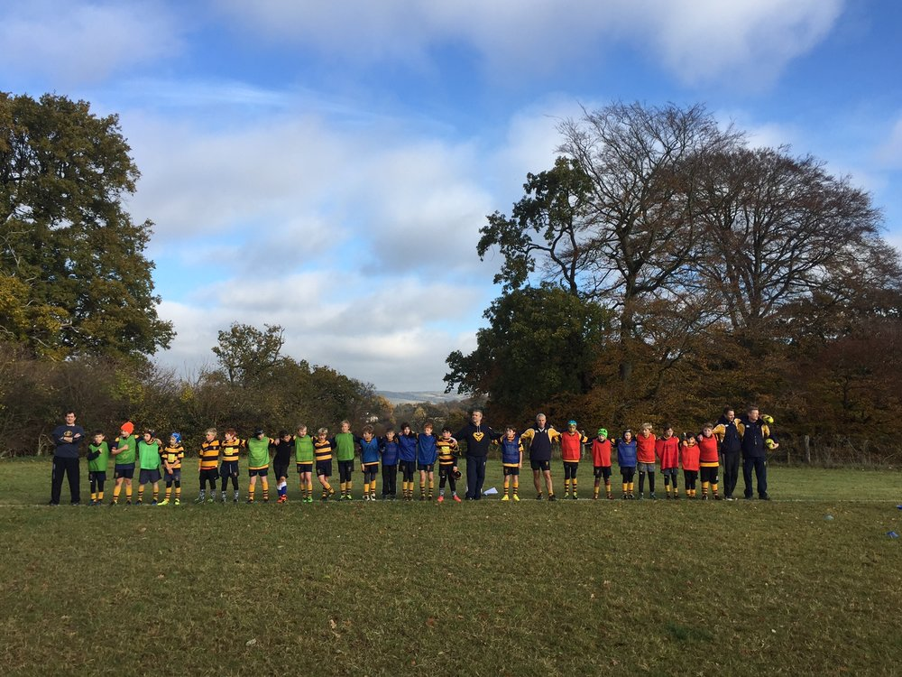 Those U10s and coaches who were not playing away at Farnborough observing the 2 minute silence today.