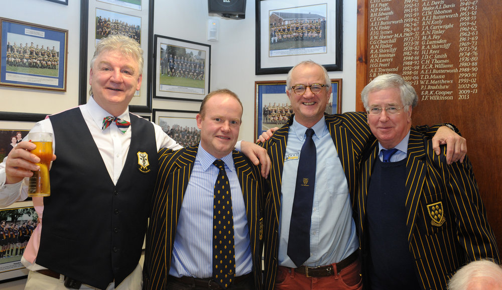 Former England legend Mickey Skinner (far left) and Defence Secretary The Rt Hon Michael Fallon MP (far right) were also in attendance, pictured here with Club President Michael Wooldridge (second from left) and Club Chairman Trevor Nicholson (third from left).  Photo Credit: David Purday