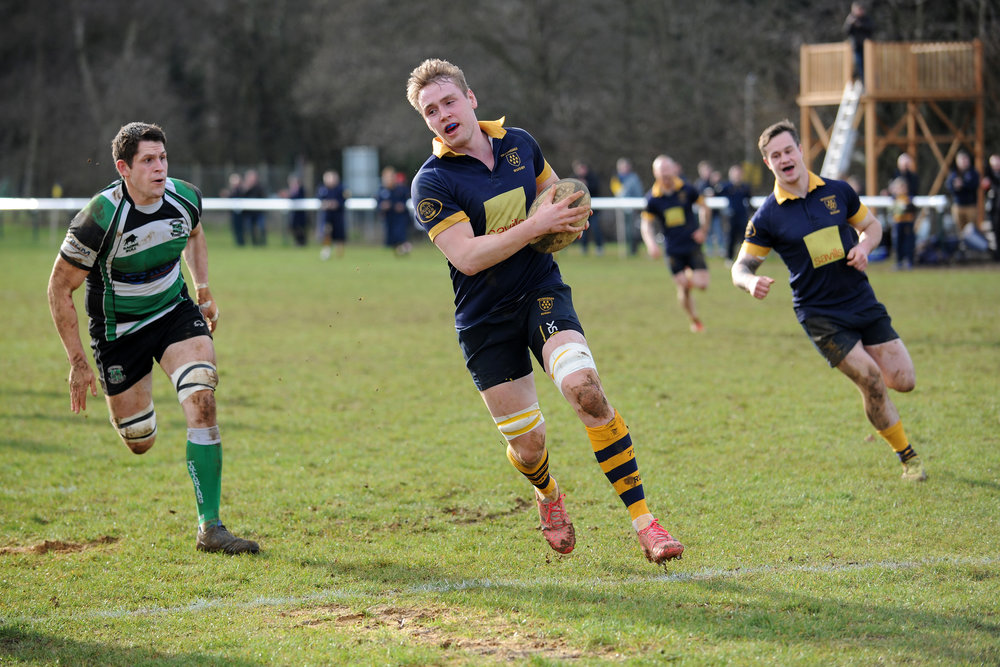 Try time! Oaks second row Tom Naismith goes over to score Oaks first of three tries.  Photo Credit: David Purday