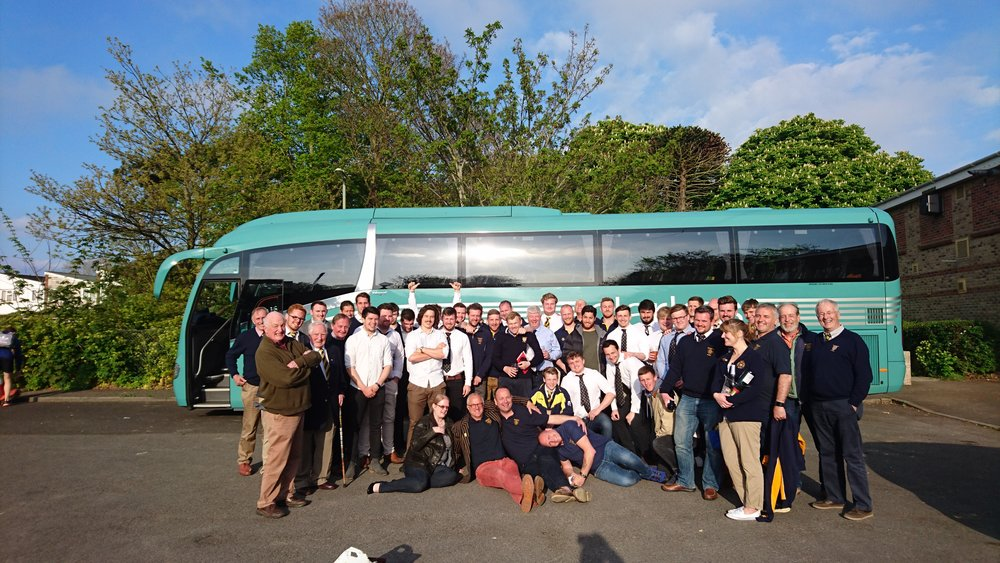 On the buses!  The Sevenoaks Senior Squad and supporters on their way back from Gosport and Fareham after the last match of the season.