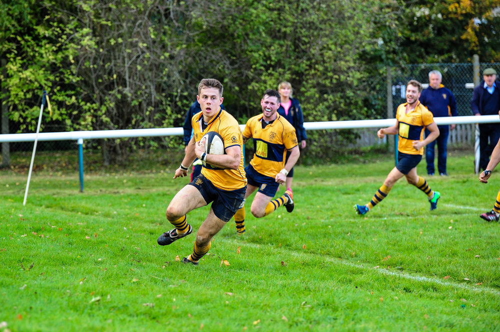 Oaks full back goes over for Oaks opening try against Tottonians RFC.  Photo credit: David Purday