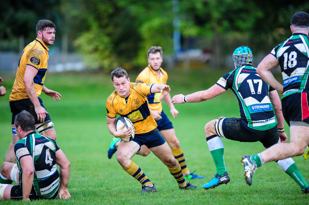 Centre Nigel Gumbleton, pictured here in action against Tottonians, had an excellent match against Cornish.  Photo Credit: David Purday