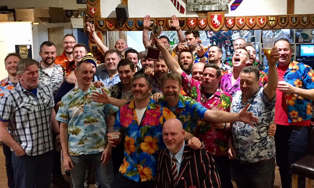 Hawaii5Oaks...let the fun and games begin, plus a huge thanks to Richard (blazer-festooned , front right) for making Vets rugby in the County possible