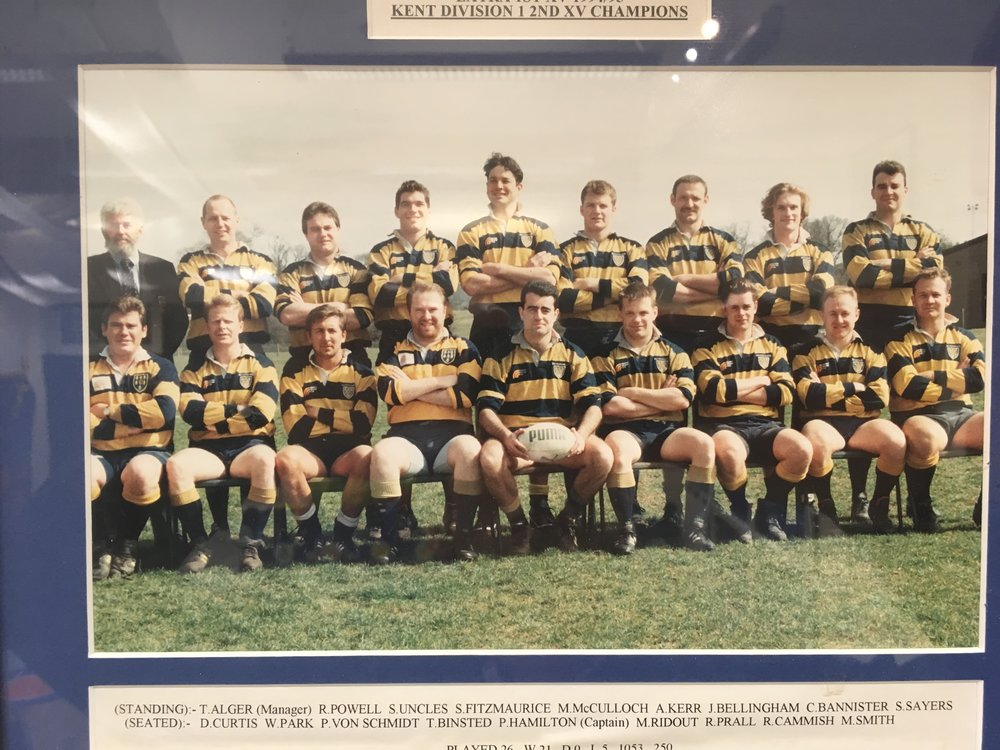 Tony, back row, far left when he was the Extra A XV (2nd XV in new money) Manager
