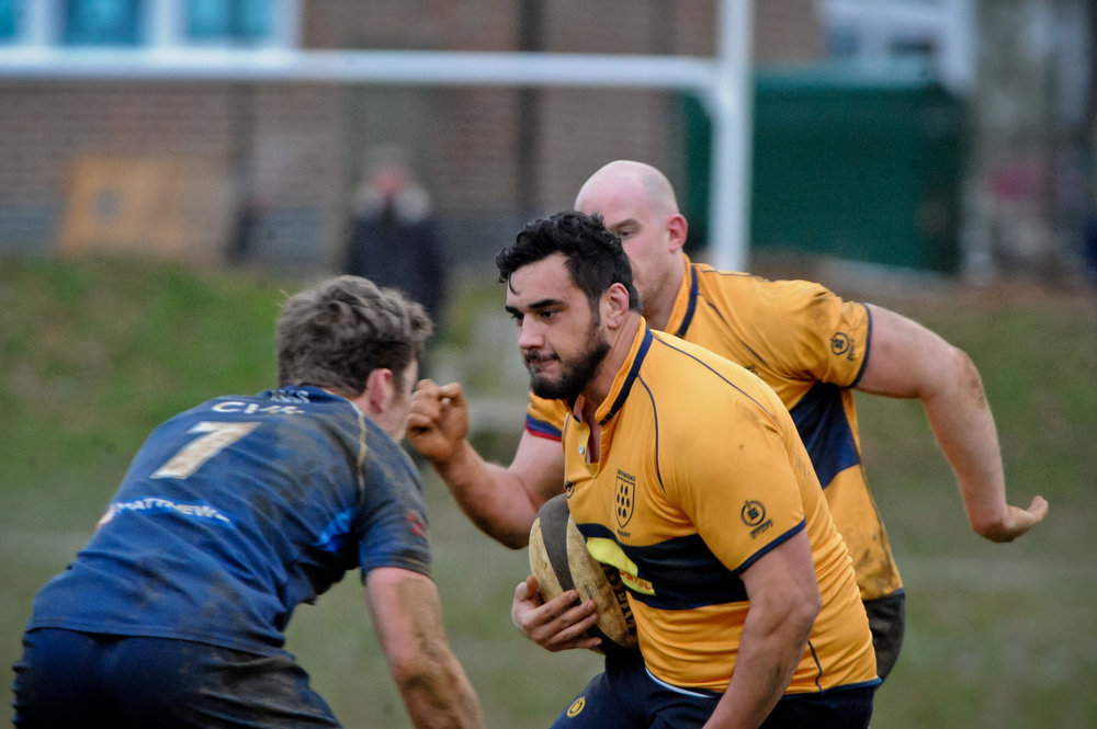 Oaks back rower Alex Suttie looks for a way through against Brighton Blues in the home match last season. Photo credit: David Purday