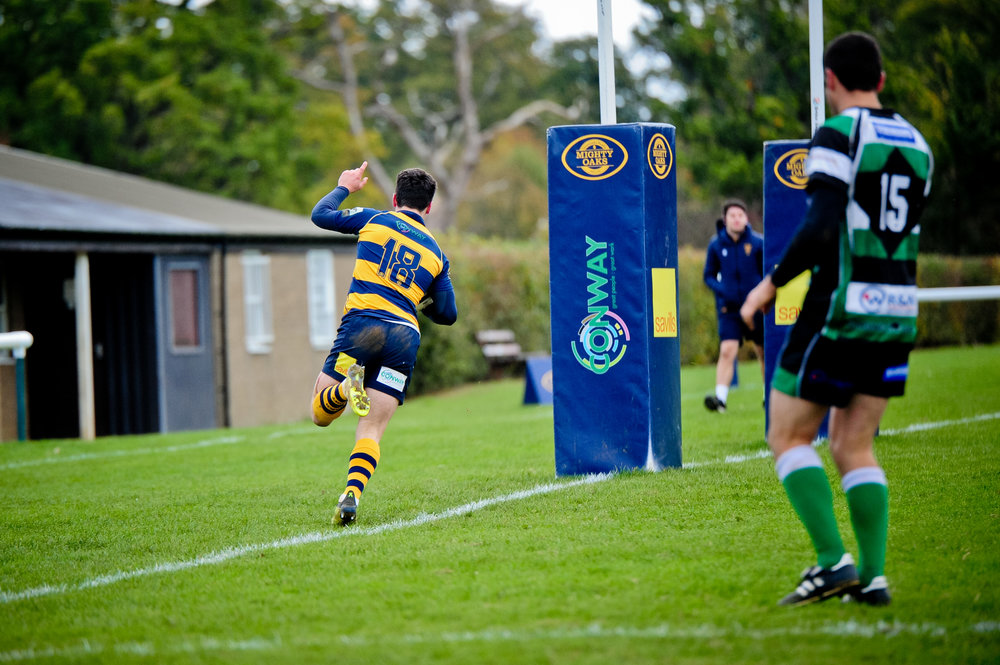 Oaks scrum half Mike Scott goes over for Oaks seventh try against Tottonians at the weekend