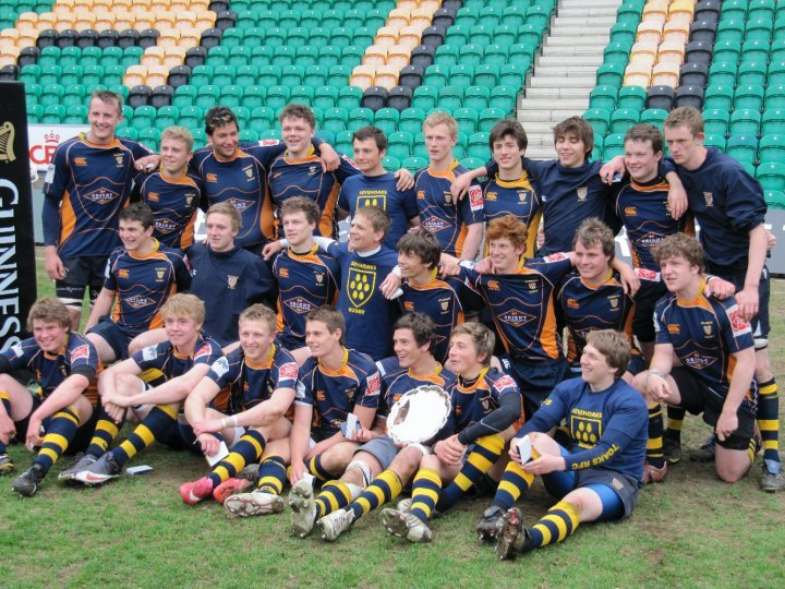 Champions! Shirtcliff and his team mates celebrate winning the National Plate Final at Franklins Gardens