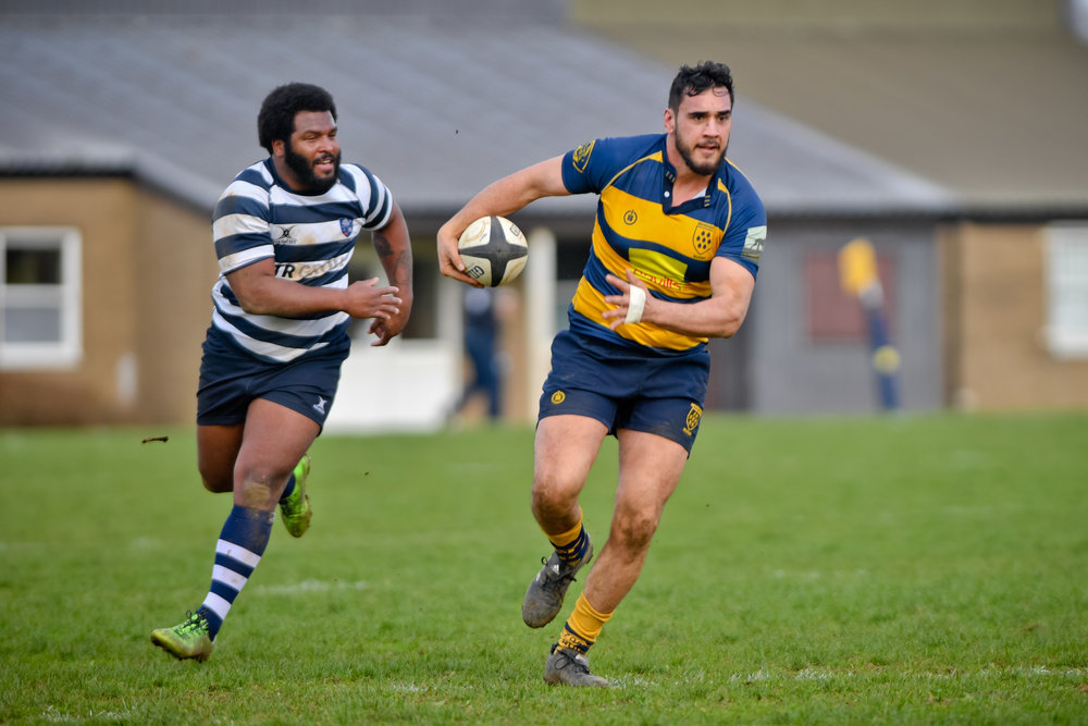 Man of the Match Alex Suttie on the charge. Photo Credit: David Purday