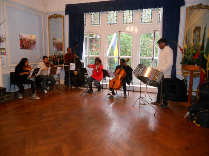 Musicians rehearse Courante at the St Kitts/Nevis High Commission
