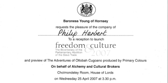 Invitation from Baroness Young