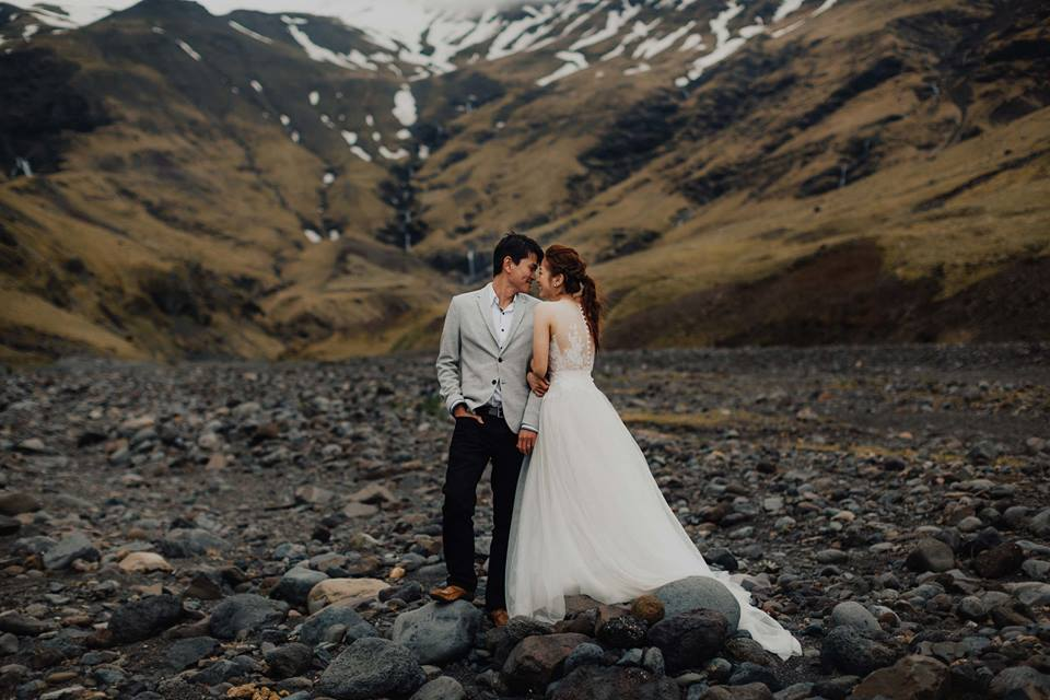 Our bride, Lisha, stunned with a tulle train as she scaled Iceland for her pre-wedding photoshoot.