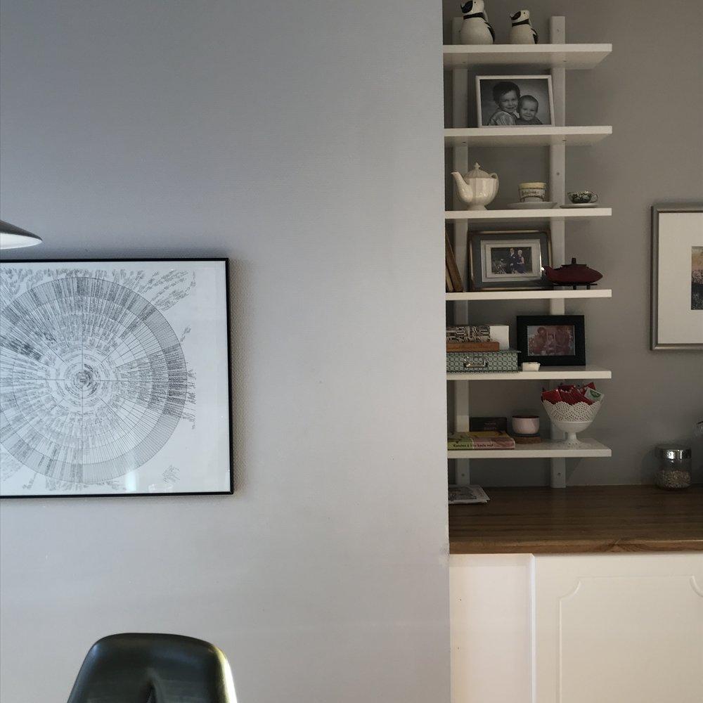 Denne hyllen på kjøkkenet er stadig i endring, ikke med nye ting, men med nye måter å bruke den på, oppbevaring og dekorasjon.