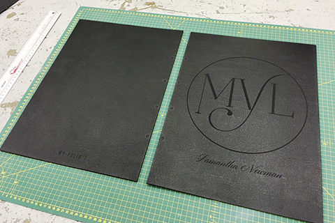 Bespoke personalised logo engraved A3 portrait black leather portfolio for make up artist