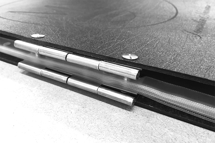 Leather Hinge bound professional portfolio Folio Close Up