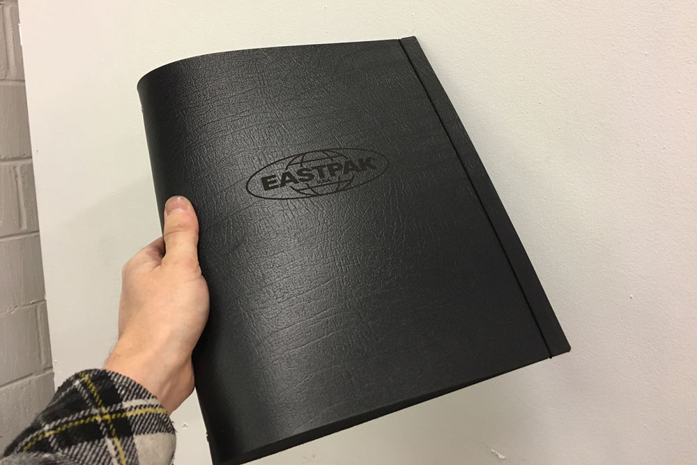 eastpak logo engraved leather A4 portrait ringbinder portfolio folder
