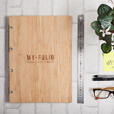 bamboo wood A4 portrait portfolio with name and logo engraving personalisation