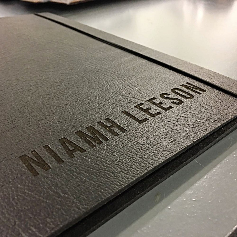 name engraved black leather A3 landscape portfolio