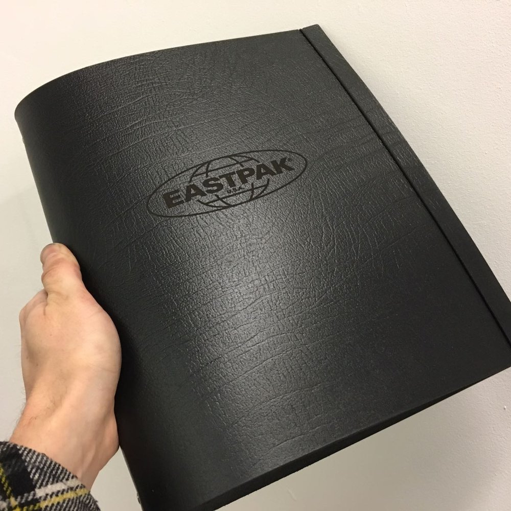 black leather ring binder portfolio with custom personalised logo engraving