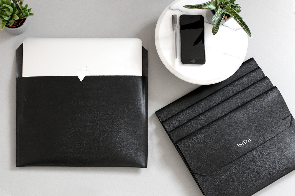 "personalised custom foil embossed black leather laptop sleeves to fit 13"" and 15"" Mac laptops"