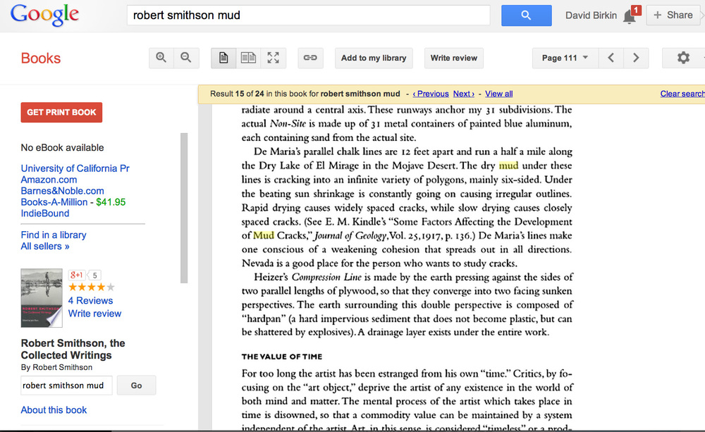 Robert Smithson on mud