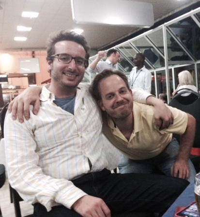 Nick Louvel and Ed Head at the Bujumbura Airport, Burundi, in June 2015.
