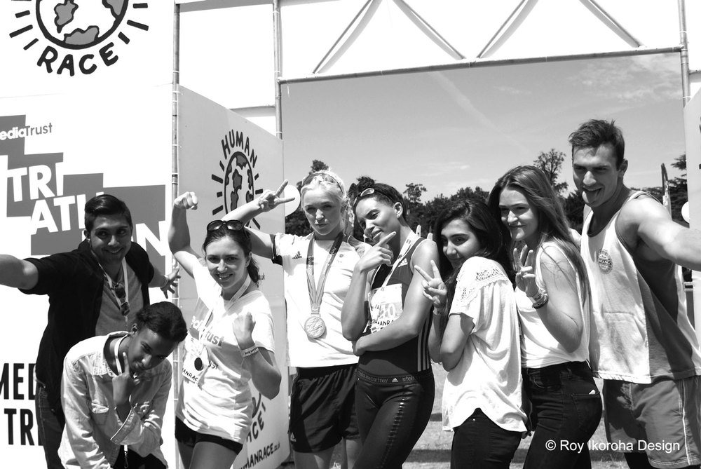 Team Media Trust celebrating with Pamela Relph CBE and Louise Hazel | © Roy Ikoroha