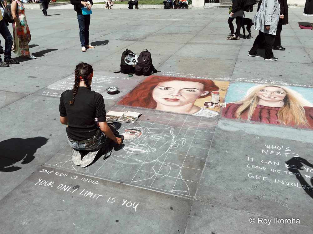 "Artist developing her artwork in Trafalgar Square. ""Your Only Limit Is You"" by the way ;)"
